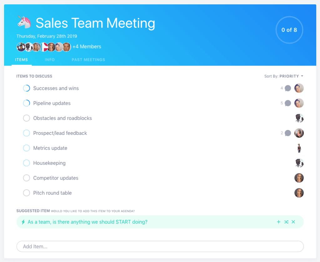 SoapBox sales team meeting agenda template