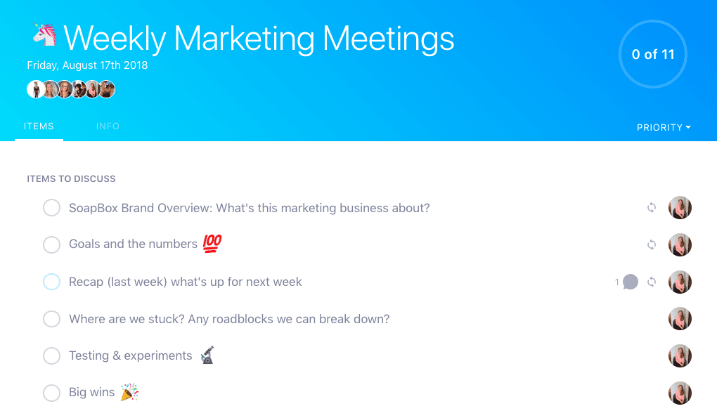 SoapBox weekly marketing meeting agenda