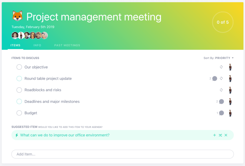 SoapBox project management meeting agenda template