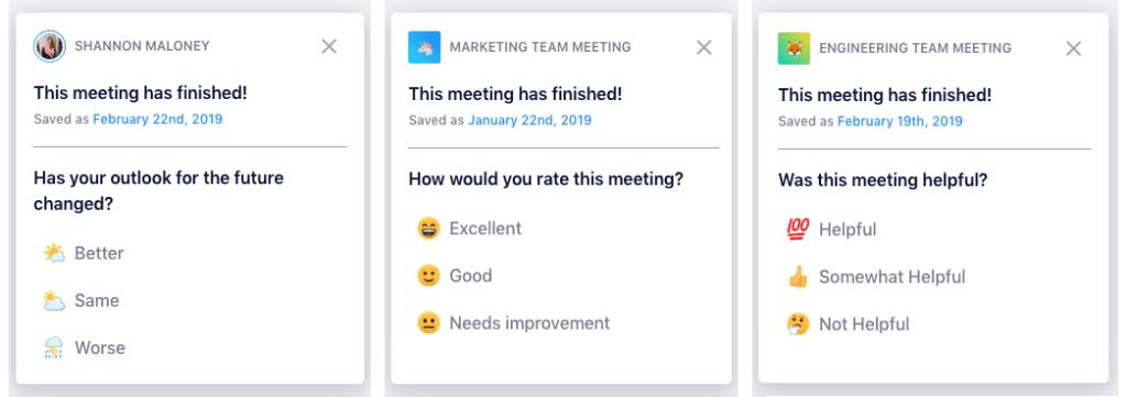 Meeting feedback questions