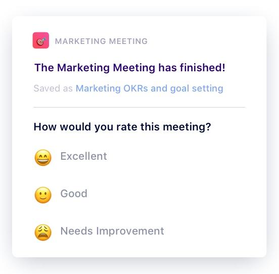 Post-meeting survey question
