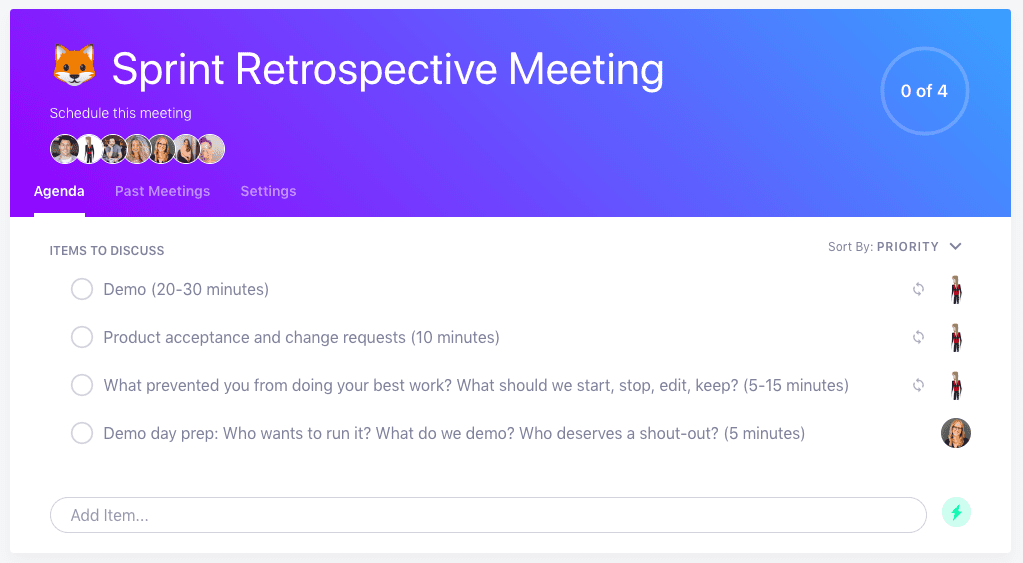 Sprint retrospective meeting agenda