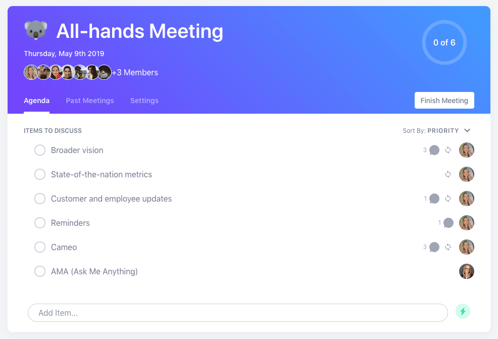 All-hands meeting agenda template