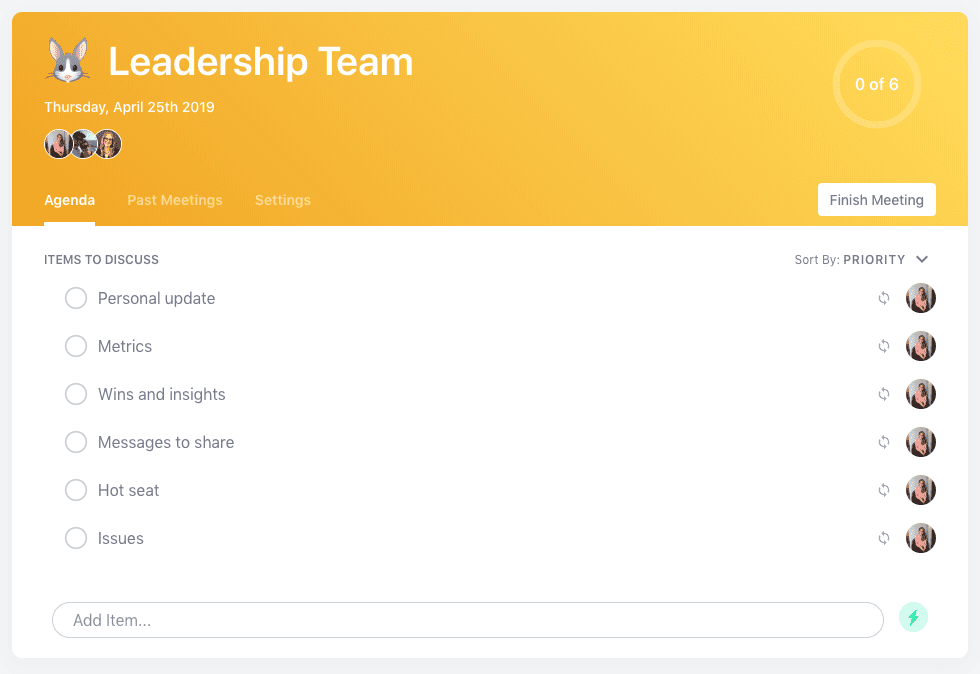 Leadership team meeting agenda template
