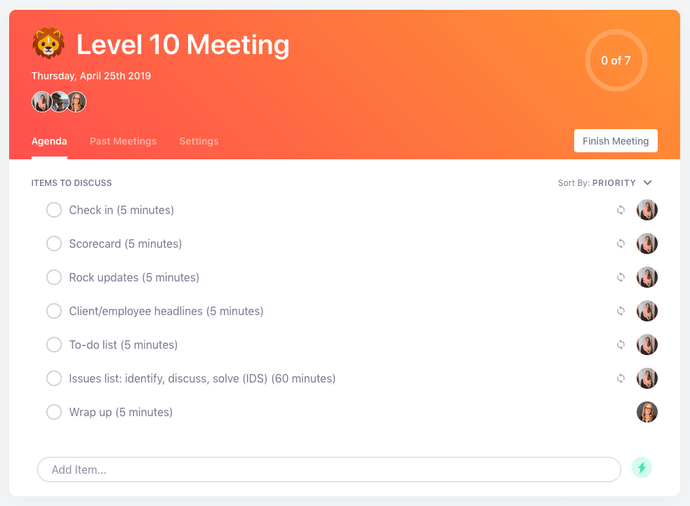 Level 10 meeting agenda template