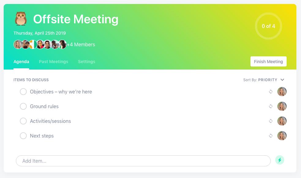 Offsite meeting agenda template