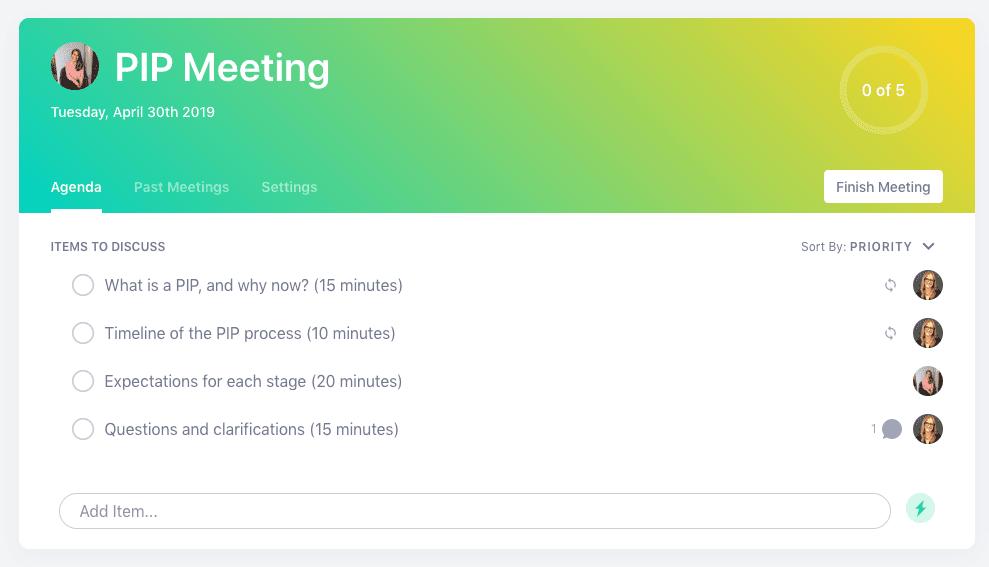PIP meeting agenda template