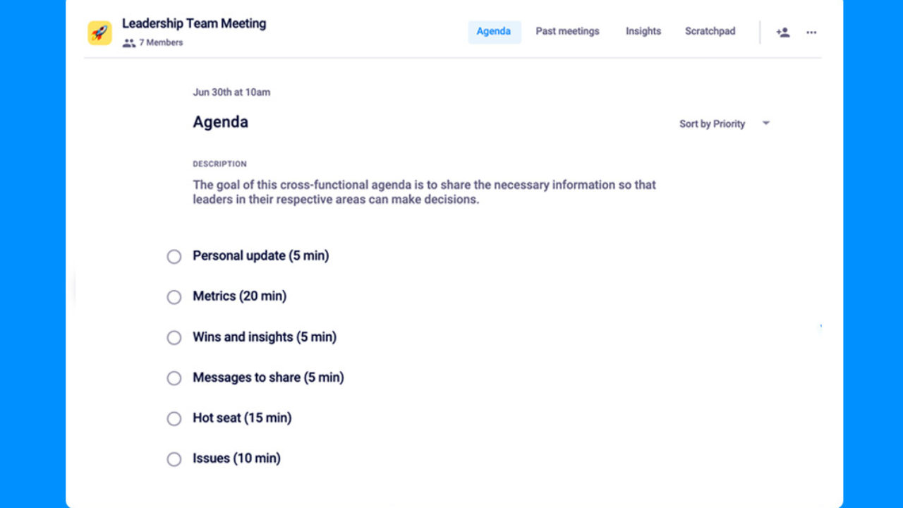 30 Items For Your Leadership Team Meeting Agenda