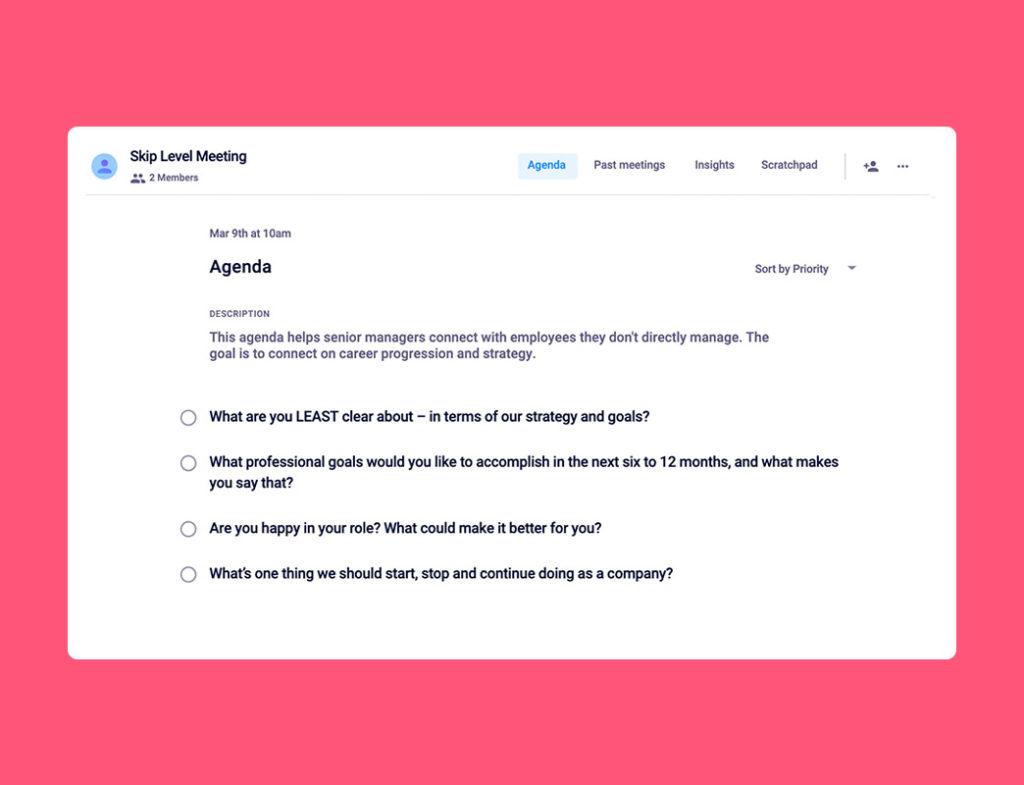 Skip level meeting agenda template