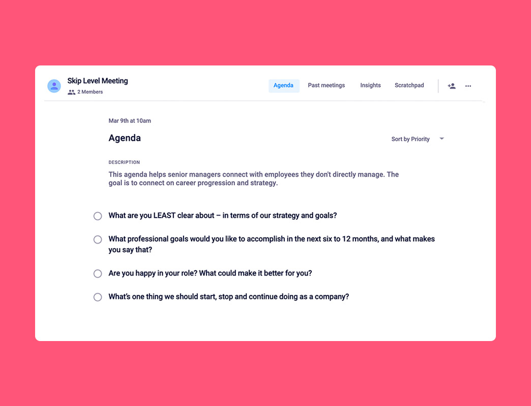 Skip level meeting agenda template