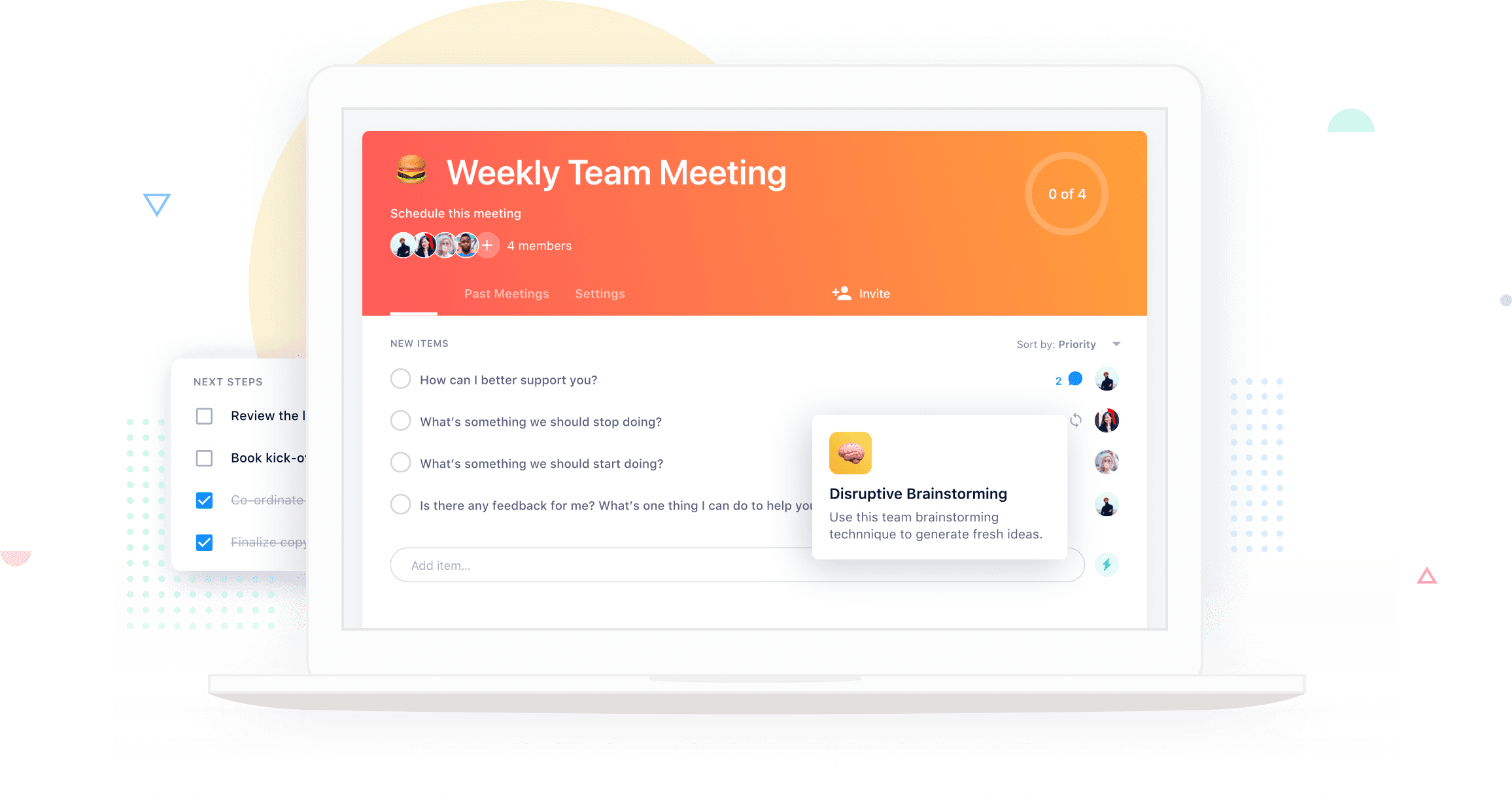 Shared online meeting agenda in Soapbox