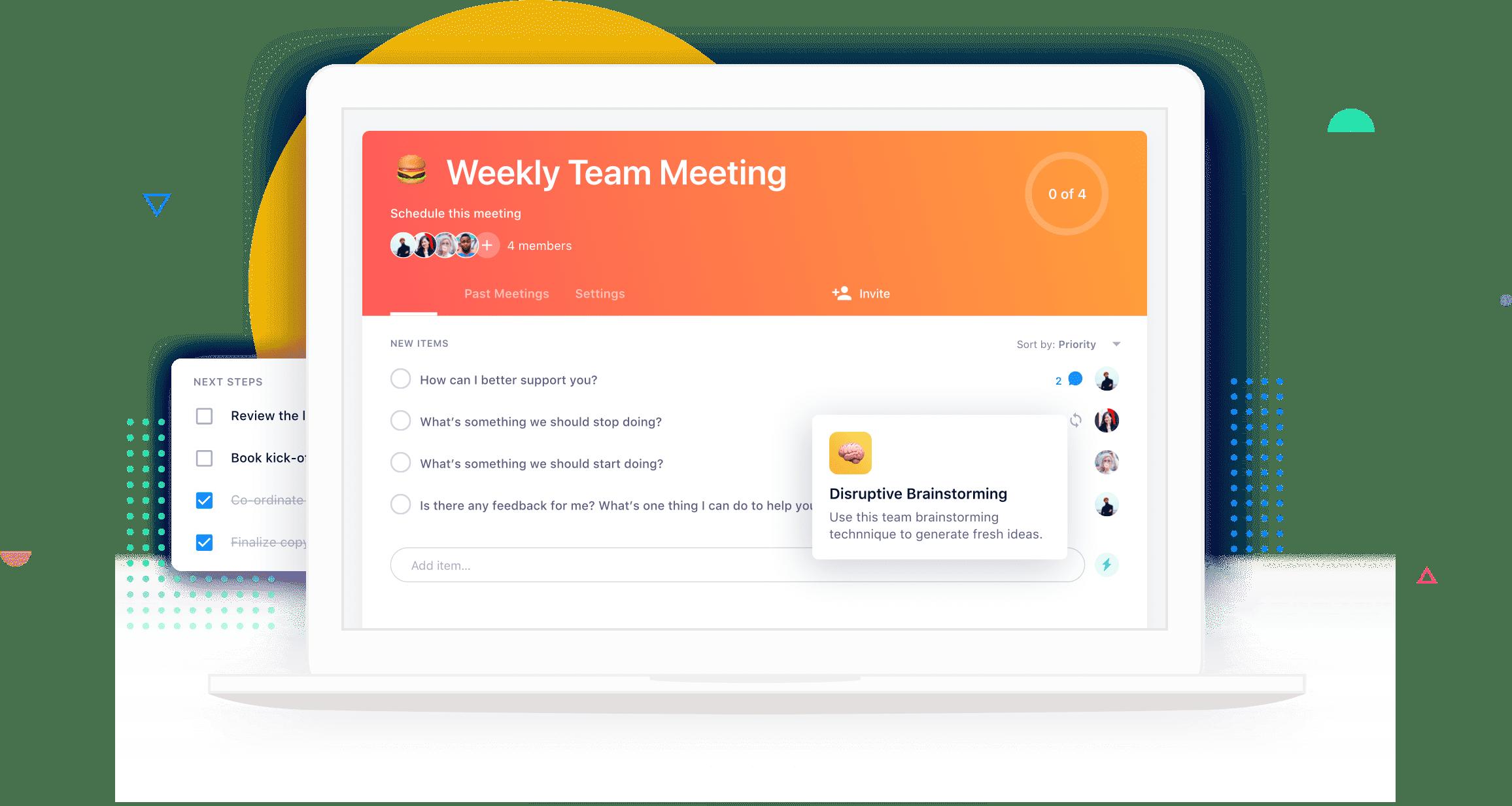 Shared online meeting agenda in Soapbox