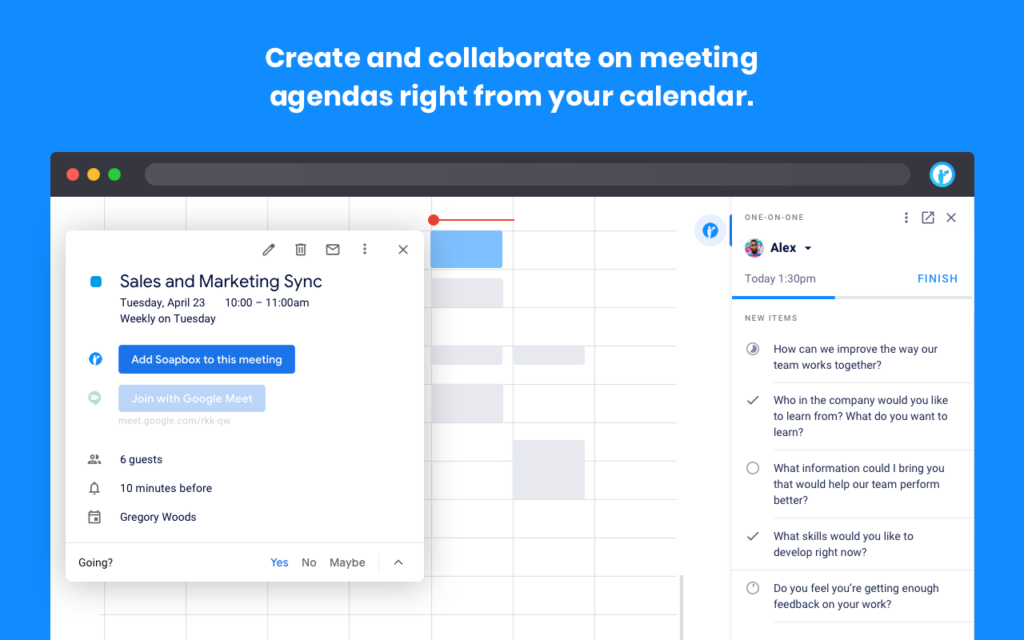 Soapbox Chrome Extension Create a Meeting