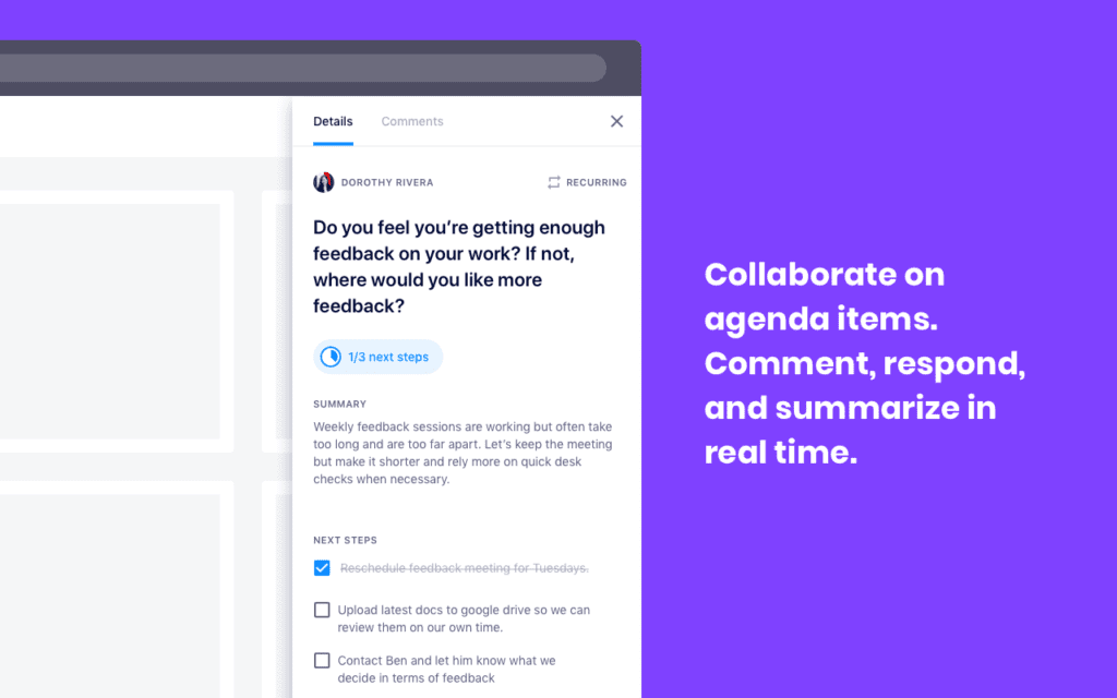 Soapbox chrome extension: collaborate on agenda items. comment, respond and summarize in real-time.