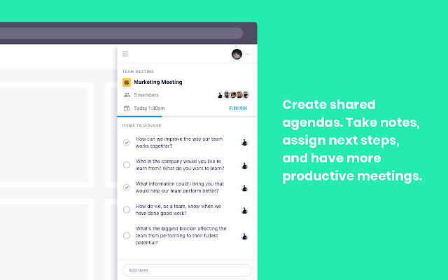 Create shared agendas. Take notes, assign next steps, and have more productive meetings. Soapbox Chrome extension