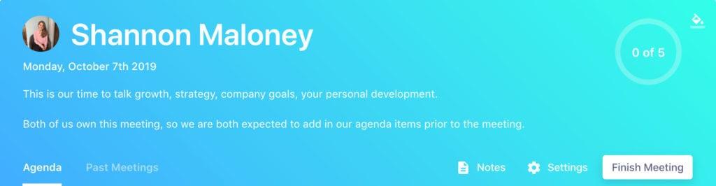 Meeting agenda description