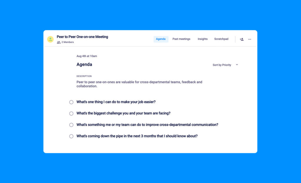 peer-to-peer one-on-one meeting agenda template