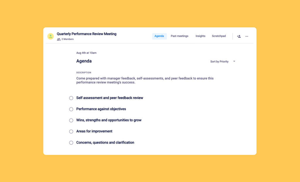 quarterly performance review one-on-one meeting template