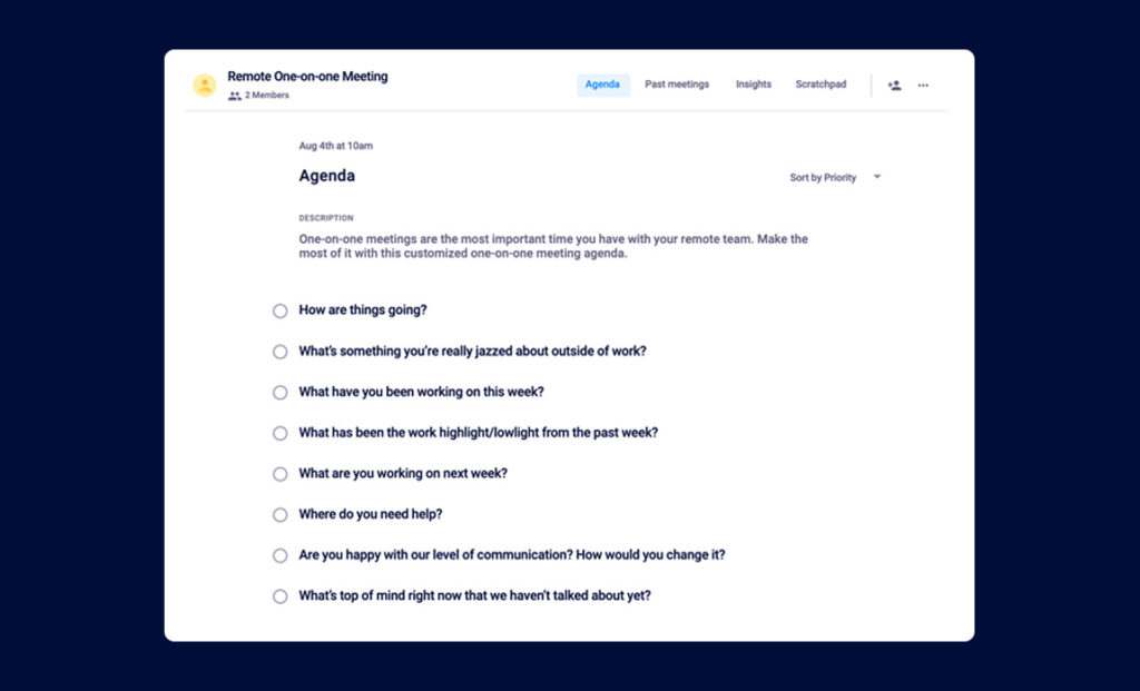 remote one-on-one meeting agenda template
