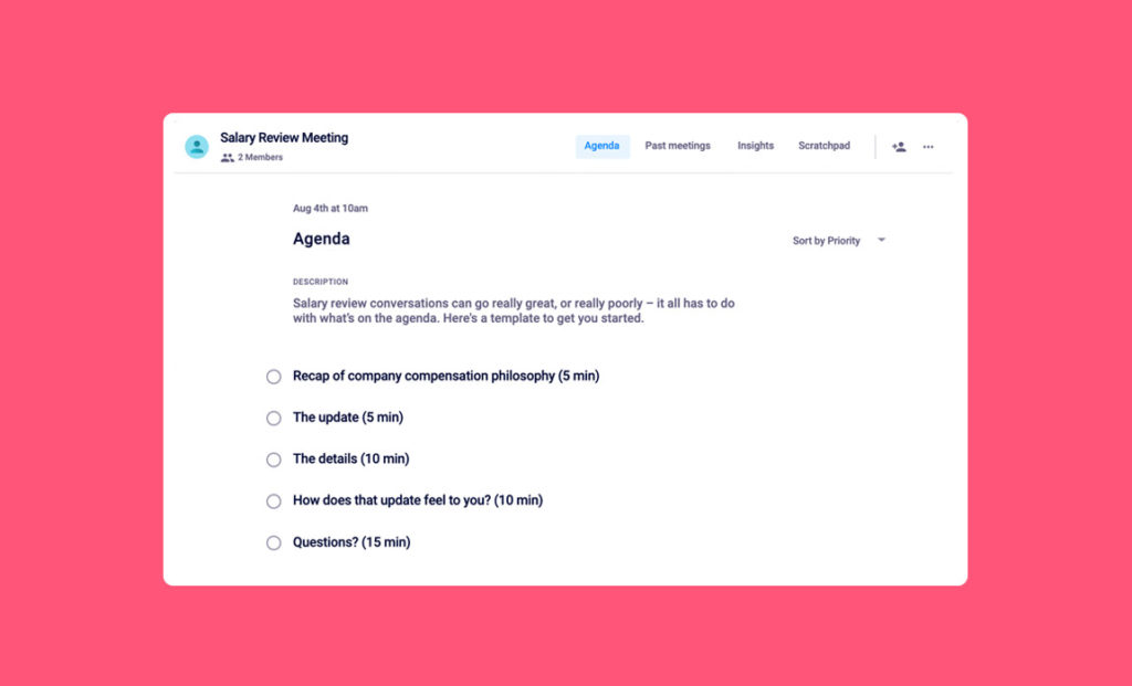 salary review one-on-one meeting agenda template