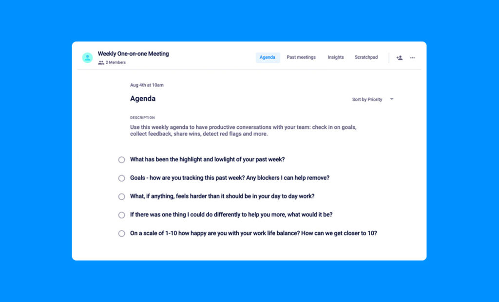 Weekly one-on-one meeting agenda template