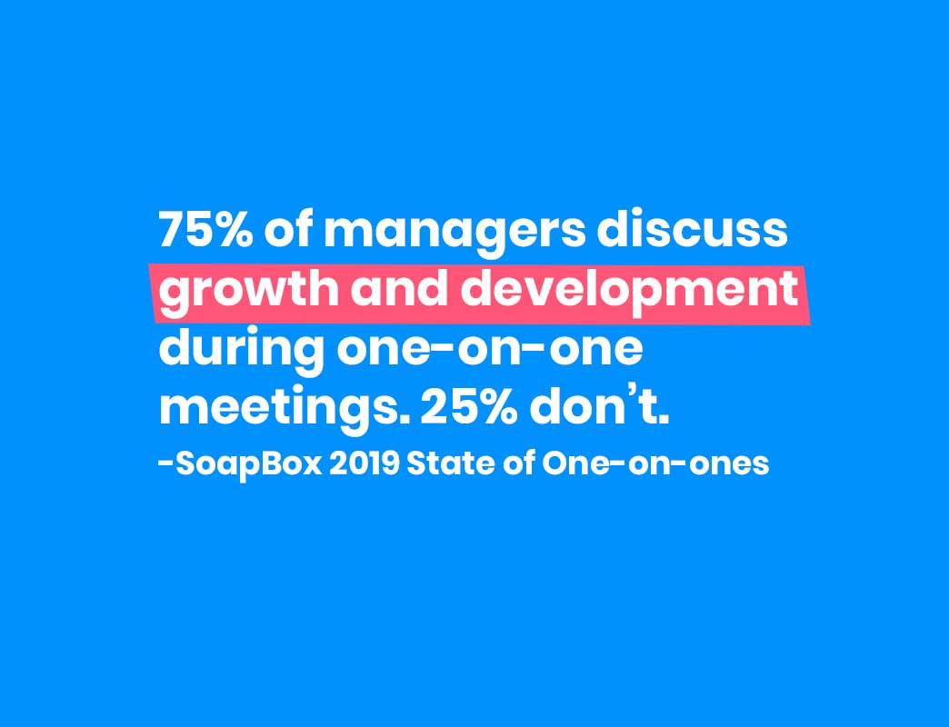 75% of managers discuss growth and development during one-on-one meetings: 25% don't