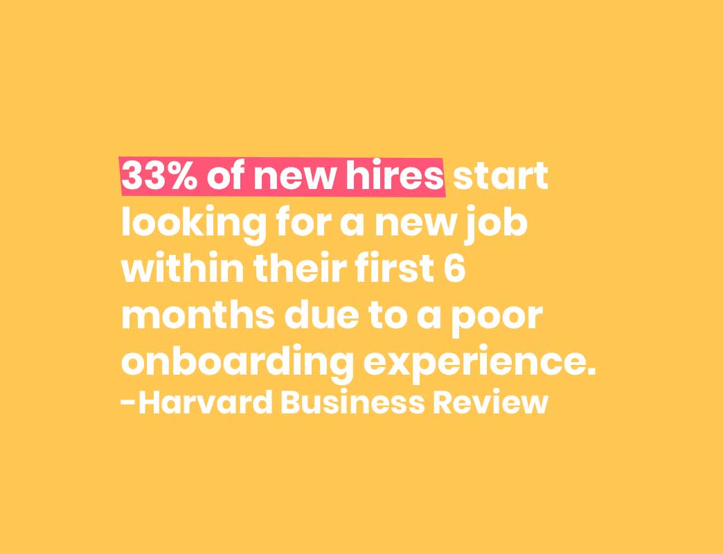 33% of new hires start looking for a new job within their first 6 months due to a poor onboarding experience.