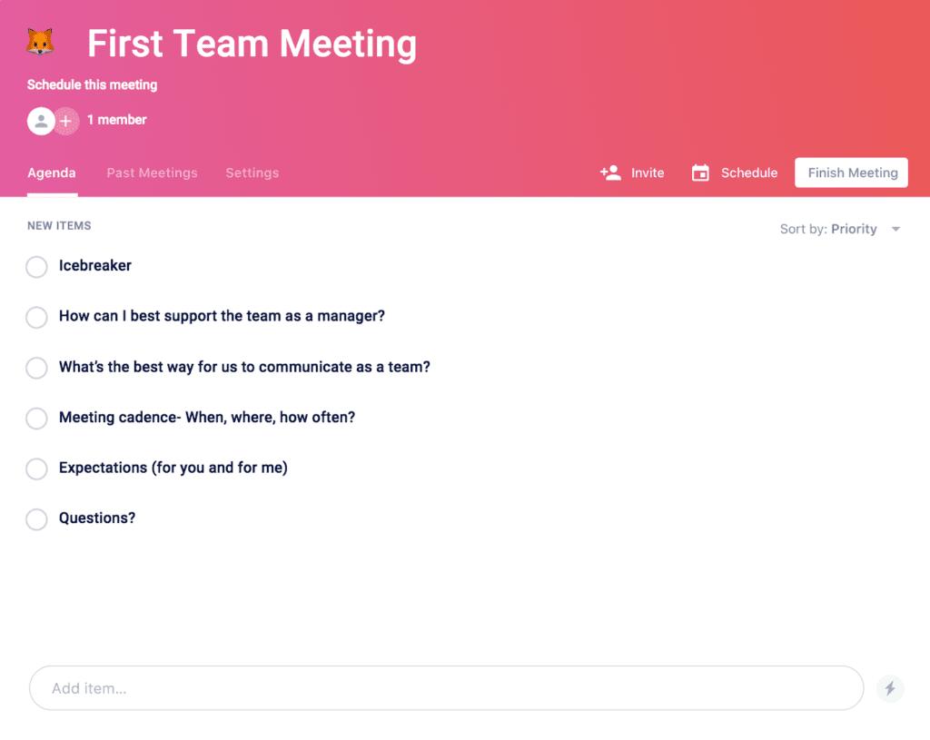 first team meeting agenda template