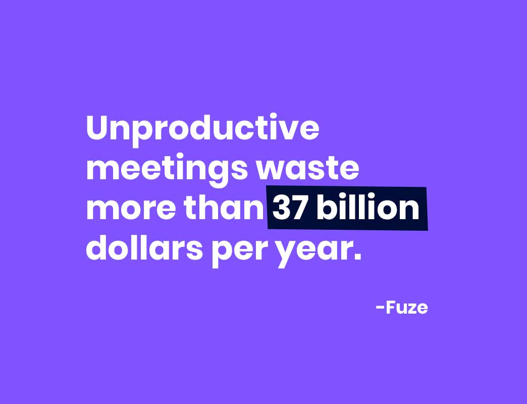 unproductive meetings waste more than 37 billion dollars per year.