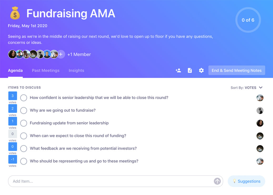 team adds items to ama