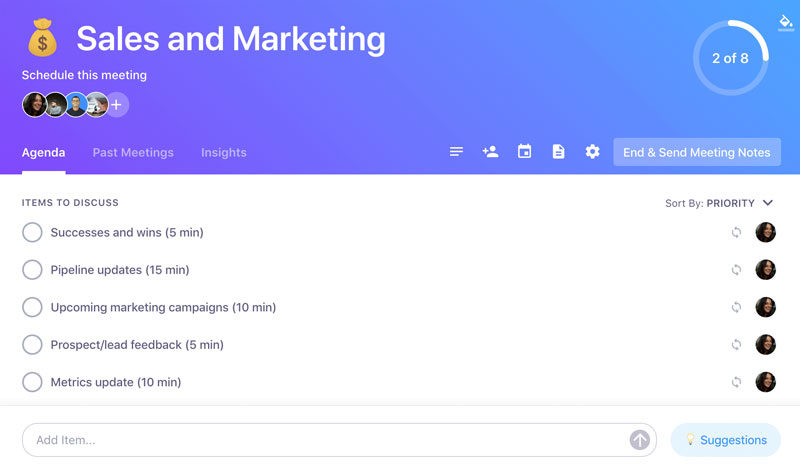Sales and marketing agenda template