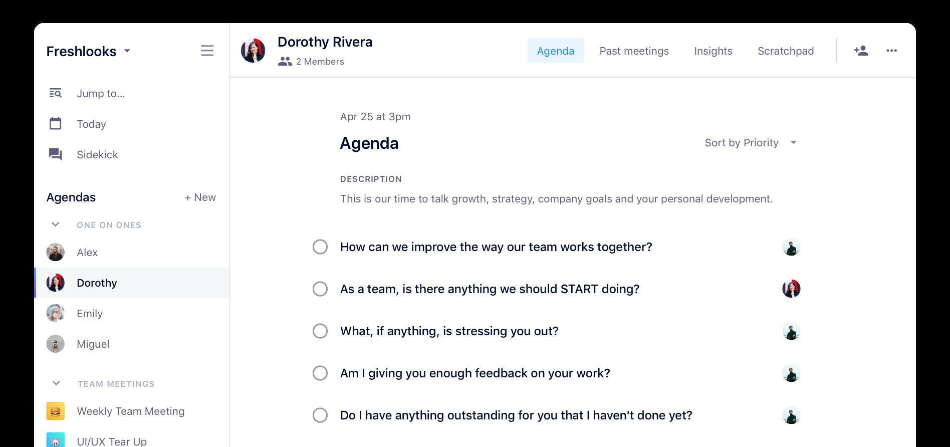 one-on-one meeting agenda