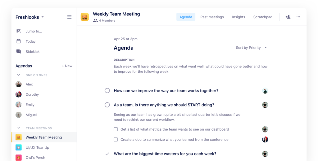 team meeting agenda software