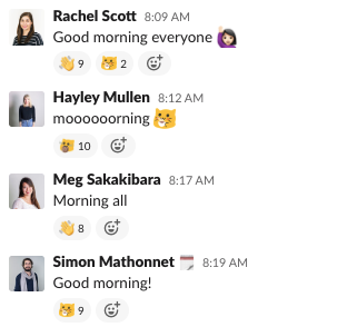 morning team messages from unbounce