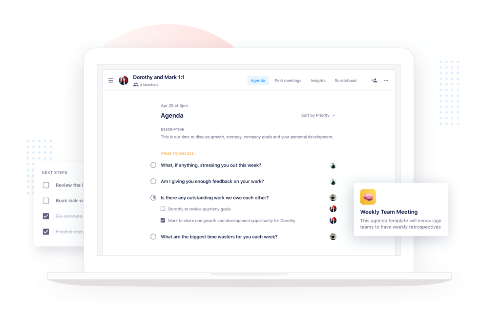 one-on-one and team meeting agenda software