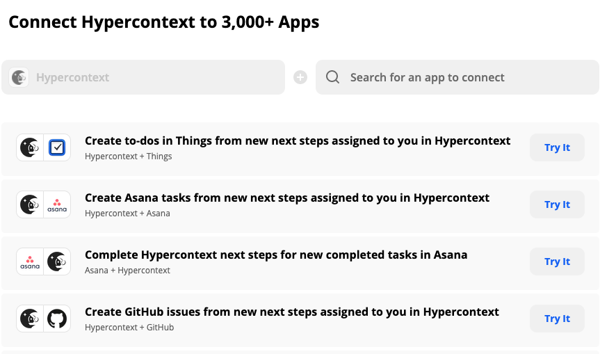Connect Hypercontext to 3,000+ Apps