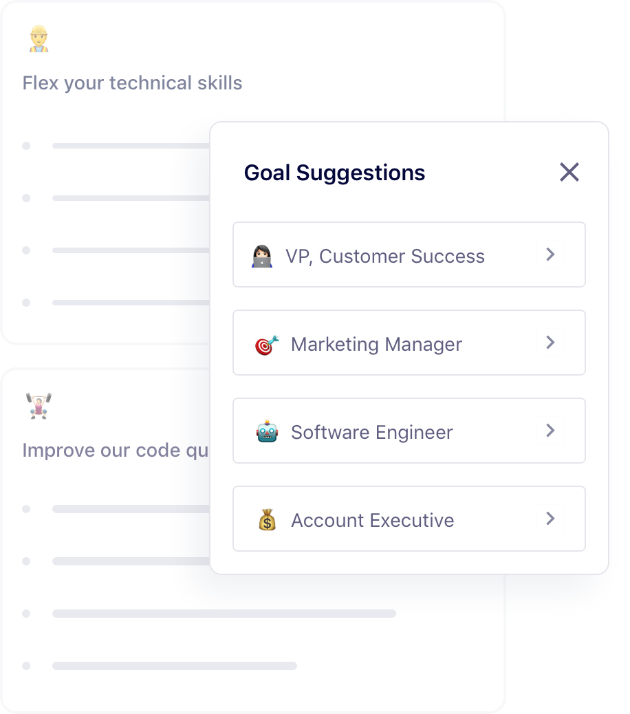 Goal template examples and suggestions for tech roles