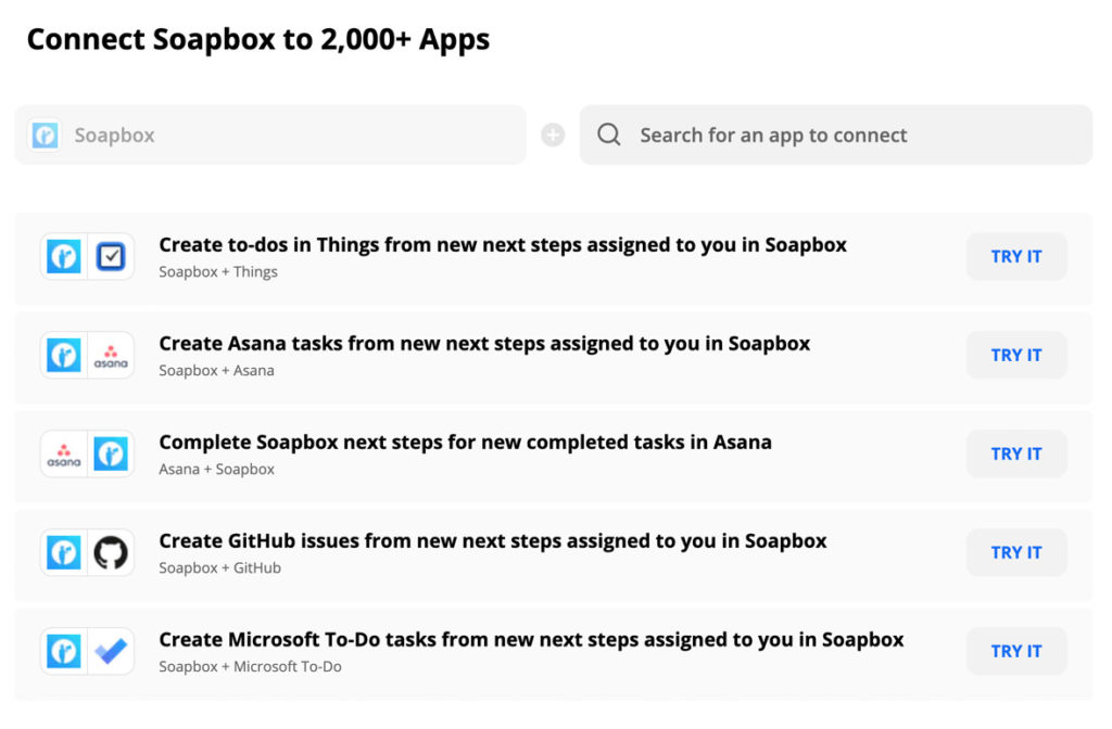 Soapbox-zapier 2000 integrations