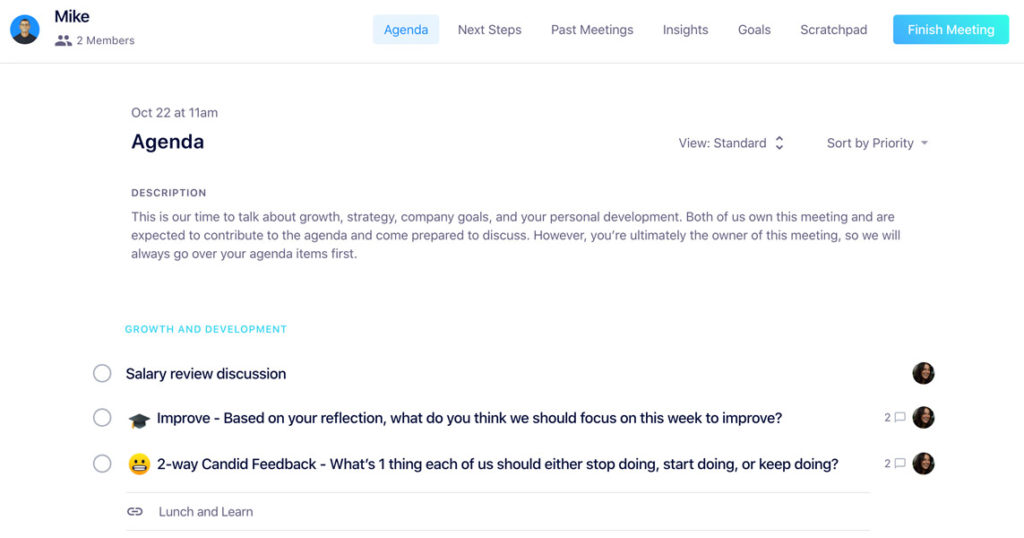 Adding a salary review item to your meeting agenda