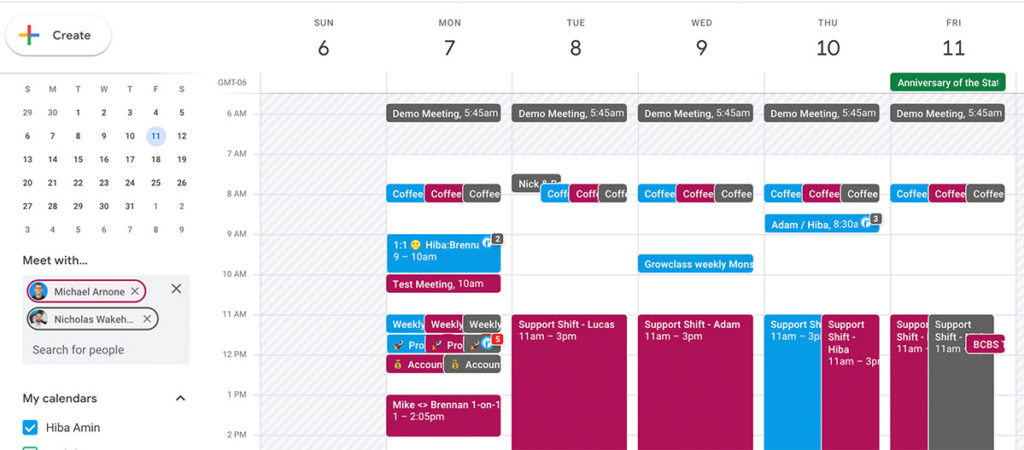 Google Calendar schedule a time for a project kickoff with team.