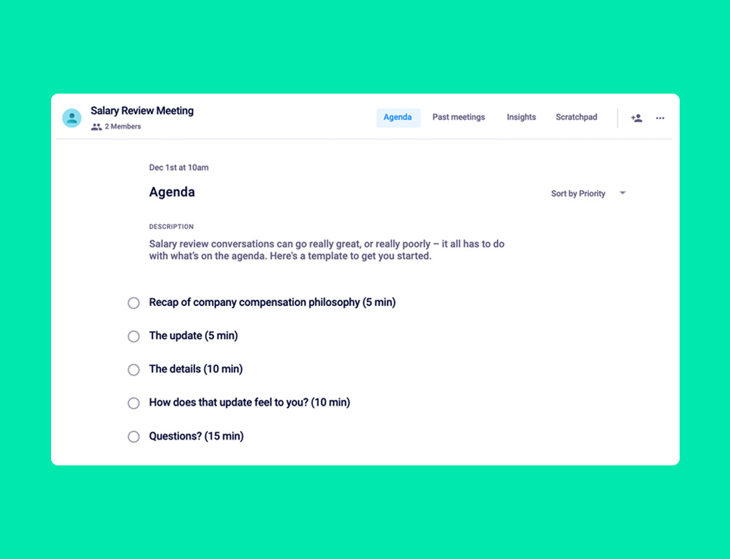 salary review meeting agenda template
