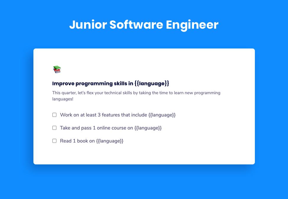 Junior Software Engineer Goal Example