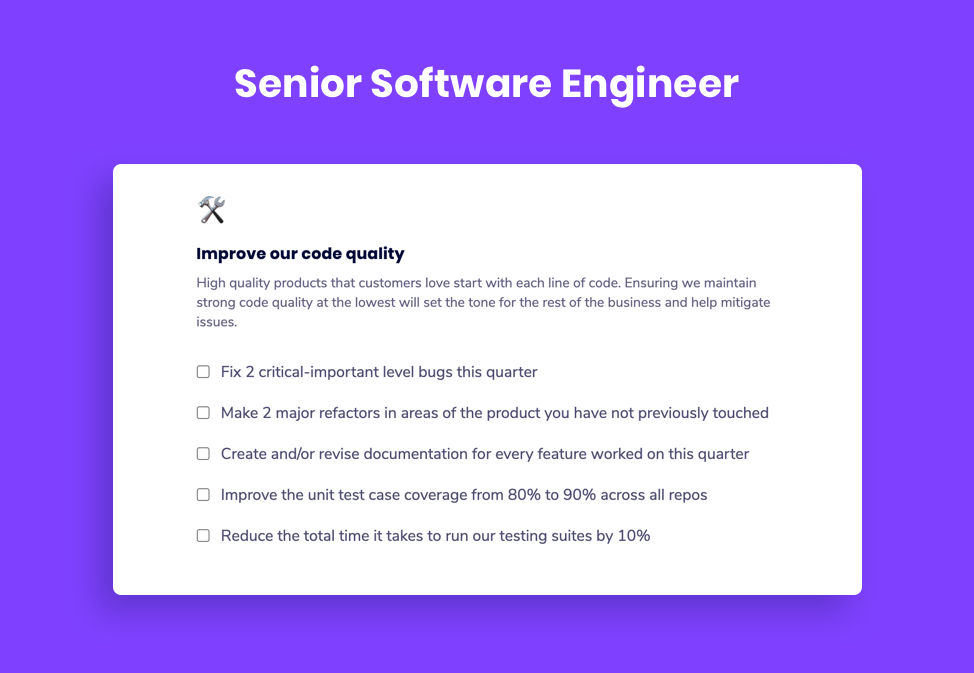 Senior Software Engineer Goal Example