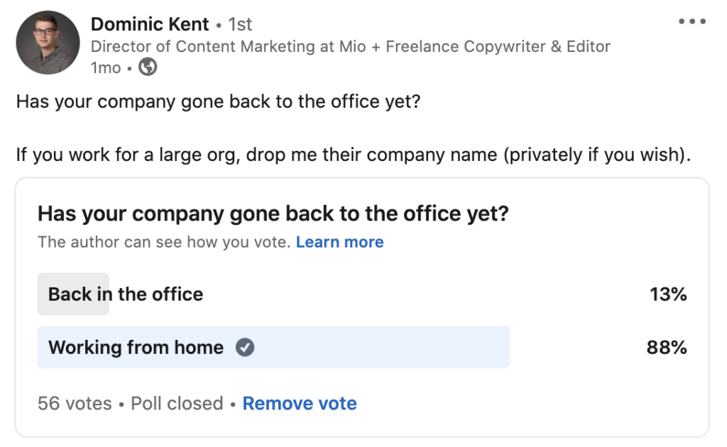 Dominic Kent poll about back to office vs. work from home