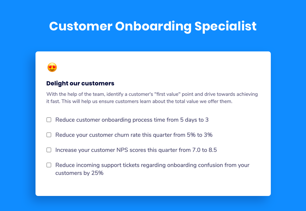 Customer Onboarding Specialist goal examples