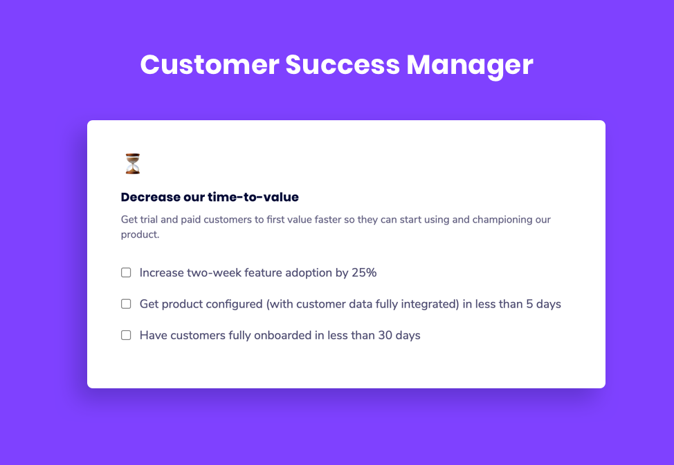 Customer Success Manager goal examples