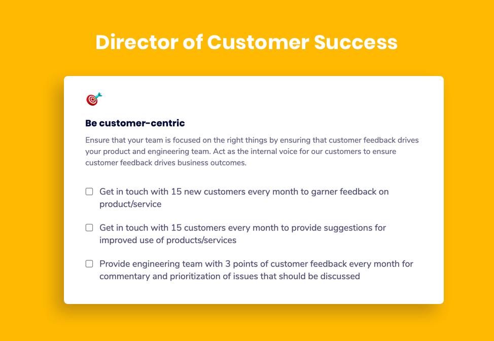 Director of Customer Success goal example