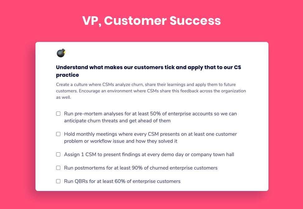 VP, Customer Success goal example