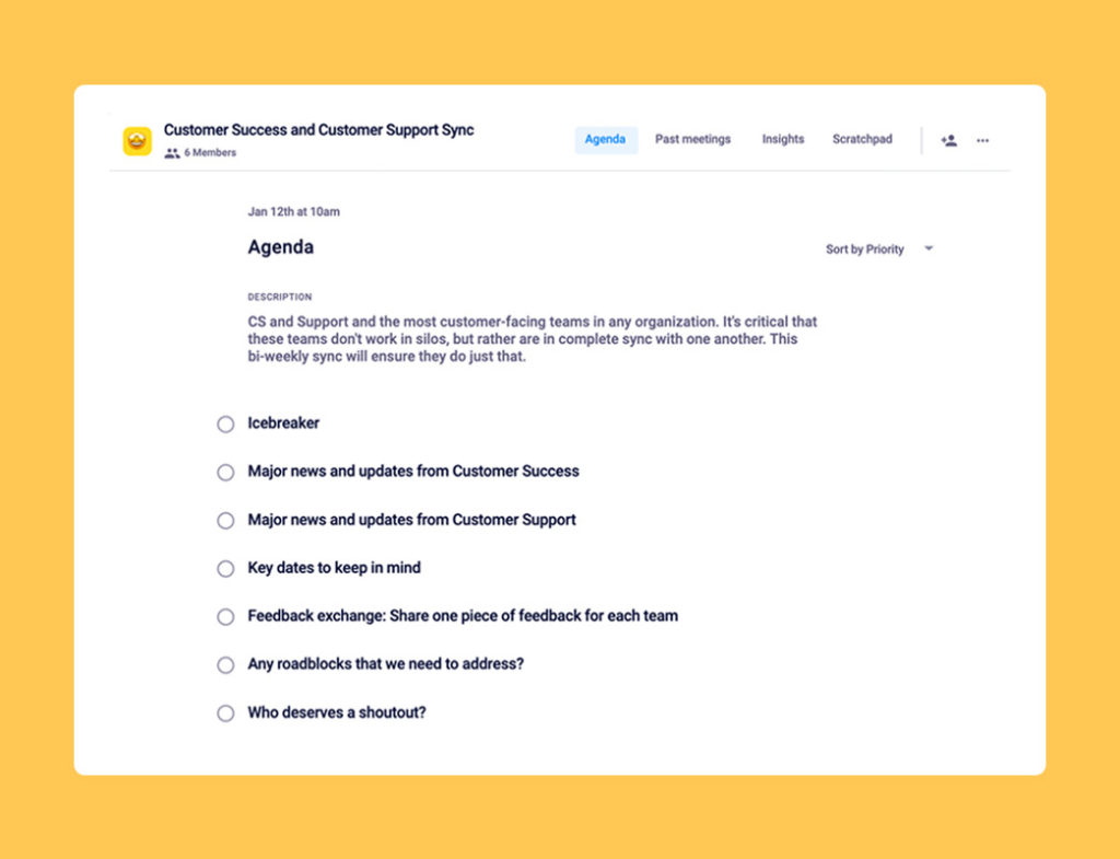 Customer success and customer support team sync meeting template