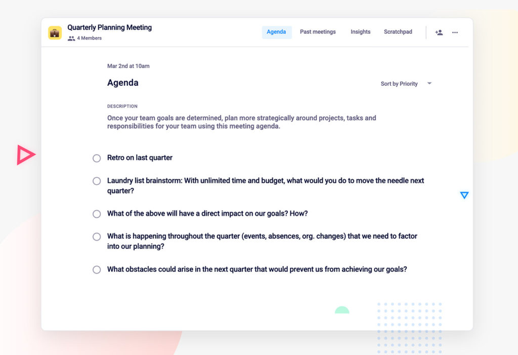 Quarterly Planning Team Meeting Agenda Template